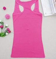 Ladies cotton tank tops button all-match basic spaghetti strap candy color W4097