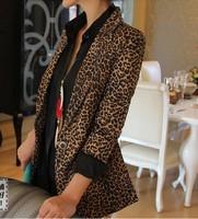 Full leopard print blazer women NEW 2014 women blazer suit foldable brand jackets women clothes one button shawl cardigan coat