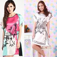 New Faux Silk Butterfly Pattern Sleepwear Gown Dress Pajamas Robe Womens For Freeshipping