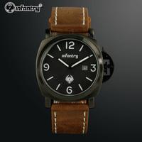 INFANTRY Men's Stylish Brown PU Leather Date Quartz Black Dial Dress Sport Wrist Watch NEW Gift