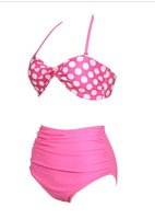 Free Shipping Drop ship New HIGH WAISTED Bikini Set Swimsuits Suits polka dot swimwear 1293C