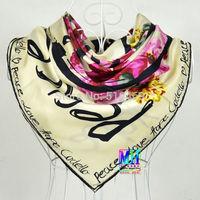 "2014 Chritsmas Gift Ladies's Beige Mulberry Silk Twill Scarf Printed Fashion Hot Sale Brand ""H"" Style Design Silk Scarves Wraps"