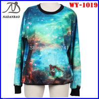 Fashion Women Hoody Blue Galaxy 3D Printed Sweatshirt For Couples Long Sleeve Crew Neck Black Milk Sport  Suit WY-1020