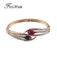 Bijuterias18K Gold Plated Alloy Austrian Crystal Full Rhinestone China Air Express  Bracelets Bangles