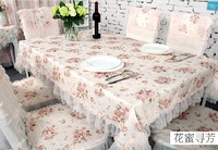 Free Shipping Europe Style Rectangle Tablecloth,Flower Tablecloth With Lace,Home Use Long Beautiful Table Cloth 130X180cm