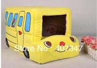 Free Shipping! !  Yellow  Cute Cartoon Bus Shape pet beds, folding pet beds, pet house, pet cushion
