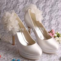 Elegant Ivory Pumps Flower Wedding Shoes Platform Ladies Heels High Free Shipping Dropship