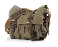 Canvas+ Leather Men's Messenger shoulder bag, canvas bag, laptop bag wholesale and retail Free shipping