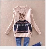 Autumn 2013 female loose preppy style rabbit o-neck pullover jacquard sweater