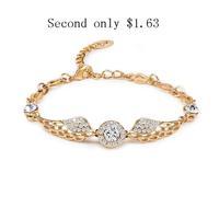 Hot 2014 Brand New Bracelets Bangles For Women Wings Gold Harry Potter Bracelet High Quality Cz Austrian Crystal Bangle