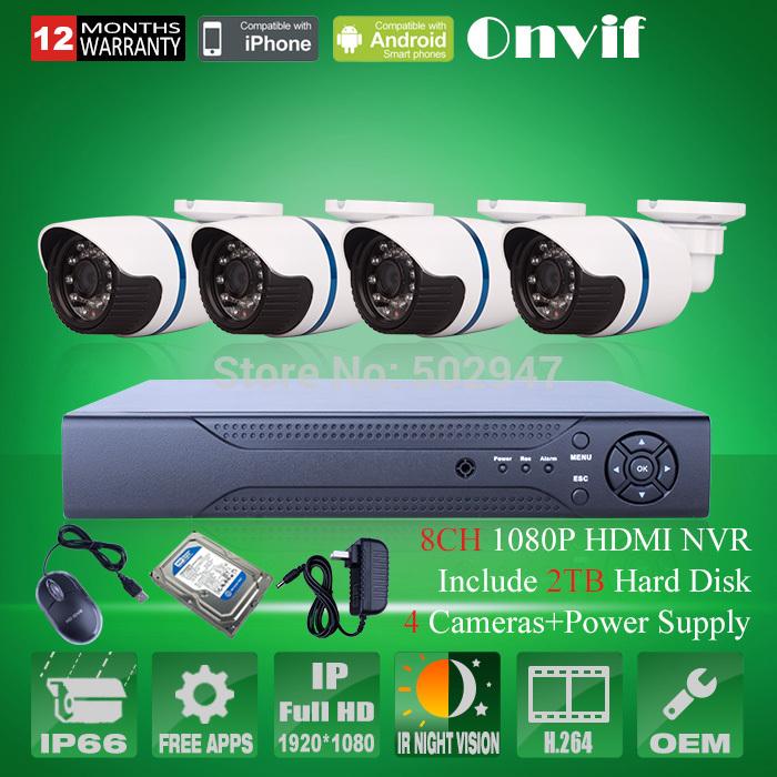 8CH HDMI NVR System Video Recorder 2TB HDD 4pcs 2MP HD 24 IR Outdoor CCTV Security Network IP Camera 1080P Surveillance Camera(China (Mainland))