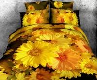2015 Yellow daisy duvet/quilt cover queen size 4pcs oil painting 3d bedding set luxury bedclothes bed sheet cotton home textile