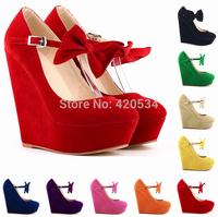 {D&T}Womens Shoes High Heels Platform Flock Stilettos  Ankle Strap Womens Pumps Sexy Ladies Wedding Bridal Shoes Black Size35-42
