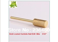 FREE SHIPPING Gold coated Carbide Nail Drill Bits For Electric Nail Drill Machine 3/32""