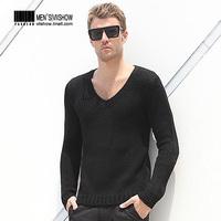 viishow2013 Autumn concise fashion thick sweater v-neck pullover sweater pullover sweater black size m l xl xxl