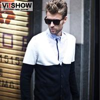 viishow 2013 autumn V-neck sweater men dressSlim classic college style cardigan   influx  new brand winter auturn white black