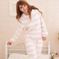 2014 long winter women' camisolas e pijamas feminino comprido inverno brand striped soft coral fleece nightwear pajamas clothes