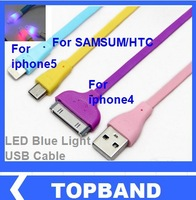 10pcs/lot 2013 New Arrive Glitter LED Blue Light USB Cable for iPhone 5/ iPad mini/ iPod Touch 5/ iPad 4/SAMSUM/HTC,Freeshipping
