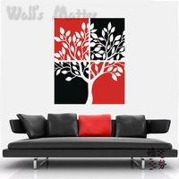 Eco-friendly hand painted trees wall mural art stickers removable vinyl home decoration wall decals stickers free shipping