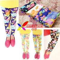 2014 new arrival fashion soft flower printing milk fiber children girl's leggings wholesale UNFADE color 2sizes 64cm/75cm length