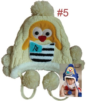 Crochet baby boy girl Penguin caps knitted warm winter ear protector earflap hats and caps
