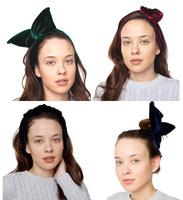 Wholesale 12pcs/lot Cute Women Velvet Bow Hair Hoop Headbands Ladies Rabbit Ears Hairband Hairware Changeable Hair Accessories