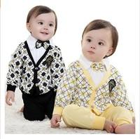 2013 new 3pcs baby clothing set plaid boys gentleman suit autumn -summer coat+T shirt+pants kids spring clothes infant outerwear