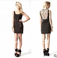 2013 New Arrival Summer Fashion Skull Hollow Out Sexy Lace Sleeveless Slim Fit Vest One Piece Dress Vestidos Free Shipping