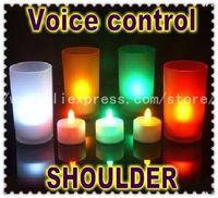 20PCS/Lot New Romantic Voice Control 7Color Change Electronic Mini LED Candles wedding/room decoration christmas light  FreeShip