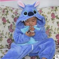 Free Shipping!  Stitch Pattern Children's Home Clothing Animal Cartoon Pajamas Fleece Onesies Christmas Gift for Kids