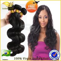 Goldleaf Hair Grade 6A Virgin Brazilian Hair Body Wave Hair Extension Natural Color 3Pcs/lot Human Hair Weave wavy Free Shipping