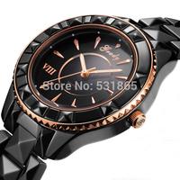 Free shipping 2013 wholesale new VIII black ceramic men quartz  fashion brand  watches for men
