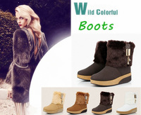 New winter fur snow boots slope with heavy-bottomed platform shoes in thick cotton-padded shoes boots wholesale
