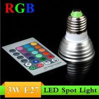 Free Shipping , RGB 16 Colors E27 socket 3W RGB LED Light Spotlight Bulb Lamp + Remote Controller 85-265V