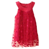 shij183 dresses baby girls  kid apparel christmas polka dot girls maxi dress 2~16age childrens clothes