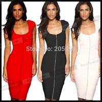 2015 spring summer sleeveless Women Vintage zipper red balck womens Bodycon bandage white casual Pencil midi women's Dress 488