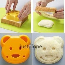 Ferramenta DIY plástico amarelo Lovely Bear pão Sandwich Toast biscoito bolo cortador Mold(China (Mainland))
