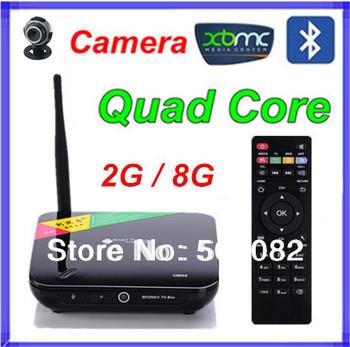 CS968 Mini pc Android 4.4.2 2GB RAM 8GB TV box Android RK3188 Quad-core Smart TV box+ Camera 2.0MP +Bluetooth 4.0+Remote Control