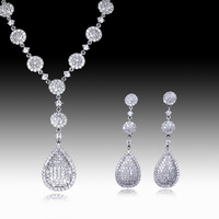 CZ Cubic Zirconia Jewelry Set New Round Drop Shape Wedding Party Anniversary Gift Jewelry Classic Elegance Clear New - VC Mart