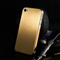 Hot 0.3mm Thin Brushed Aluminum Case For iPhone 4 4s Hard Phone Bag Cover  Mesh Metal  2 Styles