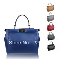 2013 fashion casual genuine leather cowhide messenger bag women's peekaboo handbag