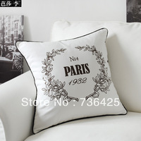 Paris 1932 Design Pillow Case for Sofa 18inch 100% Cotton Sectional Covers Brown Color