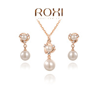 ROXI Christmas Gift Pearl Set Gift to Girlfriend 100% Hand Made Fshion Jewelry Earrings+Necklace Fashion Jewelry Set