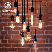 Vintage nostalgia diy pendant light table decoration e27 Edison bulb+ wire+lamp holder+ceiling base bar shop pendant lighting