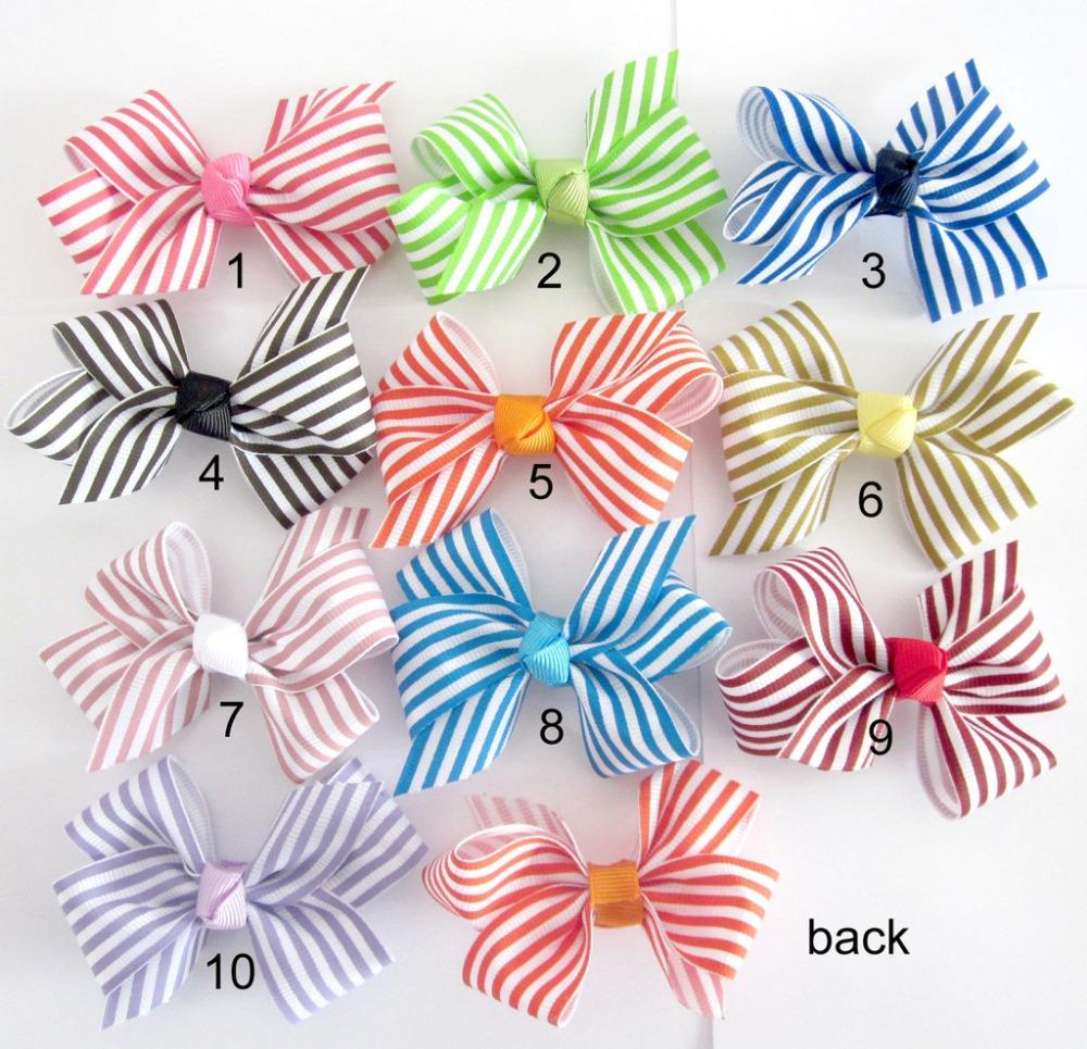 Free shipping Hot Kids hair accessories handmade ribbon bow striped bow DIY accessories 50pcs/lot(China (Mainland))