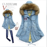 2013 Newly Fashioned Winter European Style Epaulet Zippered Cotton Thick Long Vintage Denim Coat