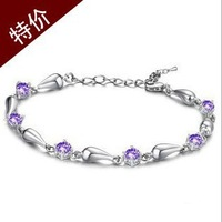 Korean jewelry  refined and elegant Lab diamond drop bracelet Silver anklet