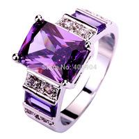 Lingmei мода оптовая продажа женщины овальным вырезом аметист 925 серебряное кольцо размер 6 7 8 9 10 11 12 13 фиолетовый ну вечеринку ювелирные изделия бесплатная доставка