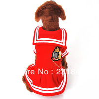 1 pcs Red Puppy Pet Clothes Teddy Dog Cat Full Dress British Sailor Navy Suit Uniform Shirt Skirt Coat Outfit Size XS S M L XL