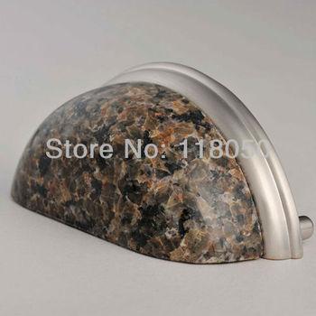 76mm Tropical Brown Granite Drawer Pull,3pcs Stone Kitchen Cabinet Pulls Closet Handles,Modern Furniture Hardware,Free Shipping